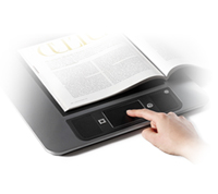 Image of the table-top magnifier with the Touch and Tap controls